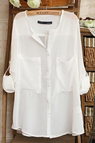 V-Neck White Loose Blouse