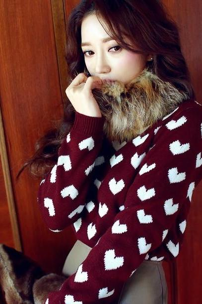 Sweet Love Cute Round Collar Pullovers