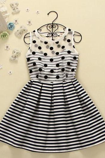 Fashion stripe sleeveless vest dress AX093005ax