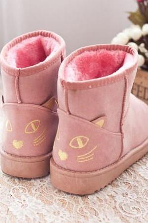 Snow Boots with Inner Faux Fur Sole Featuring Cat Design on Back Heel