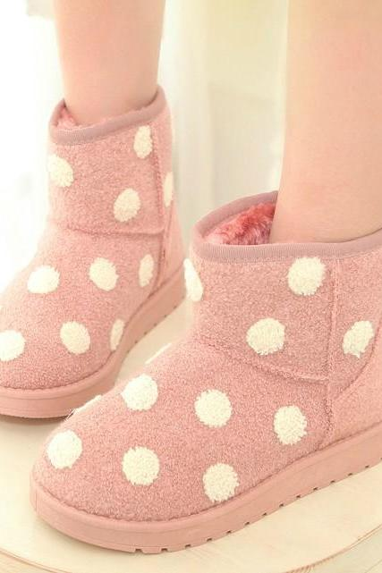 Polka Dot Snow Boots with Inner Faux Fur Sole