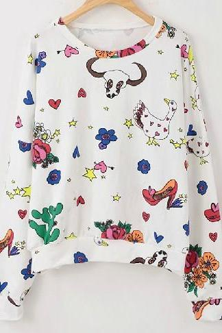 New Spring 2014 Harajuku Printed Top Sweater