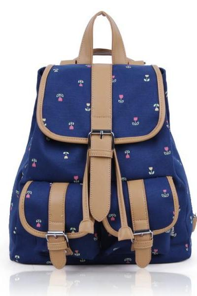Stylish Dark Blue Floral Backpack