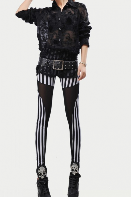 Autumn fashionable nightclubs stripe gauze splicing nine Leggings