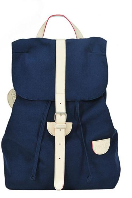 Preppy Style Blue Backpack