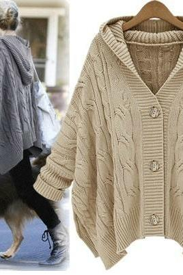 Hooded Cardigan Sweater Coat