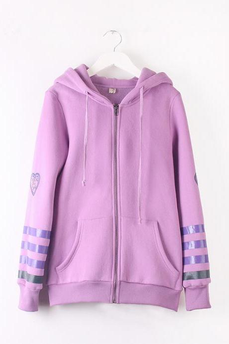 Lovely Coats Cardigan Letters Heart Zipper Fleece Hoodie Winter