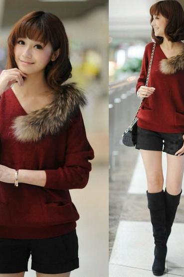 V Neck Women Sweaters Long Sleeved Fox Wool Leisure Joker Jumper High Quality