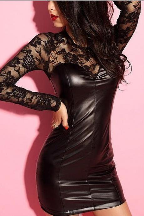 Gauze Stitching Leather Lace Sexy Dress