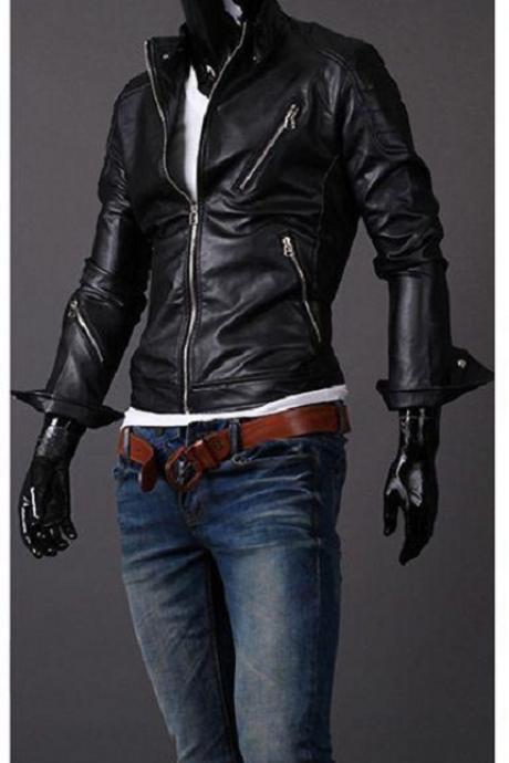 MENS BIKER JACKET, MEN LEATHER JACKET BLACK COLOR, MOTORCYCLE JACKET MEN