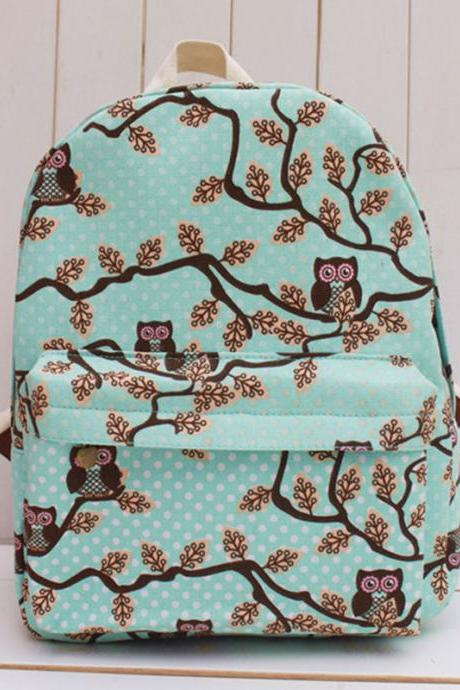 Owls In The Trees Print Canvas Blue School Bag Backpack