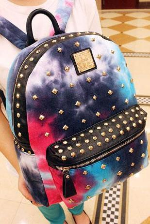 Tie-Dye Backpack Featuring Golden Metallic Studs