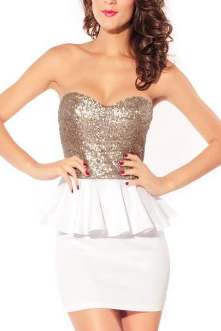 Sequined Bodycon Tube Peplum Strapless Dress with Sweetheart Neckline