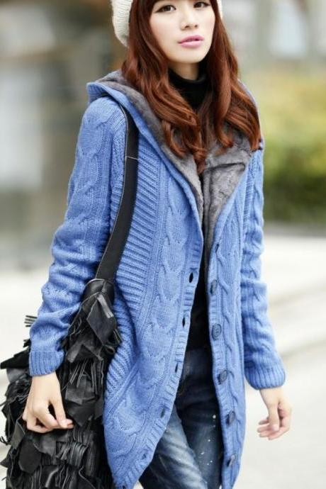Blue Knitted Cardigan Super Thick Warm With Super Smooth Faux Fur Lining Wool Sweaters Pullovers
