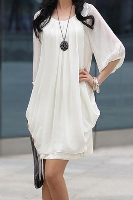 Crew Neck Trendy Party Club Mini Skirt Blouse Lotus Leaf Lantern Sleeve Chiffon Dress Black/Pink/White