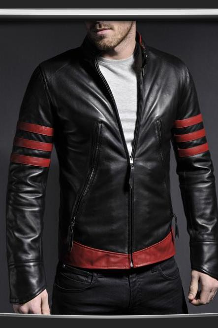 MEN'S STYLISH RETRO LEATHER JACKET, MENS BIKER JACKETS, MEN LEATHER JACKETS