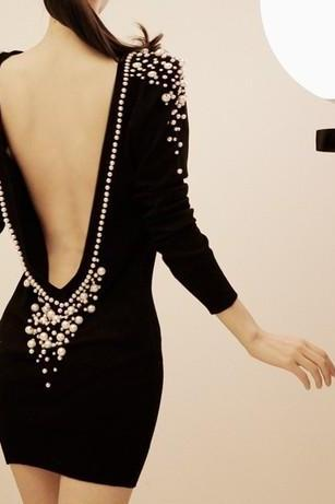 Free Shipping Boutique Backless Pearl Sexy Dress