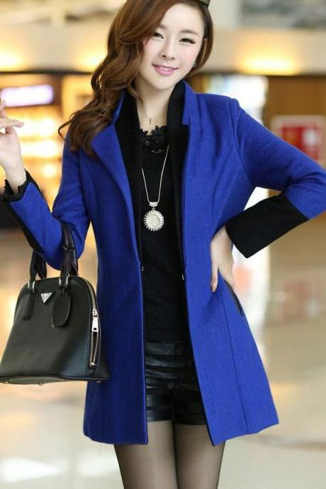 High Quality Wool Jacket Royal Blue Jacket-Blue Winter Coat For Women