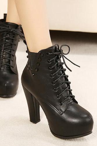 Lace Up Black Chunky Heel Rivets Design Boots