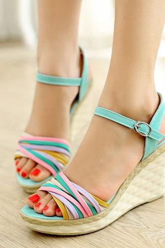 Colourful Strappy Wedge Heels with Adjustable Ankle Strap