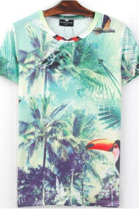 new men/women's summer casual clothing short sleeve tshirt 3d harajuku print floral flowers/trees jungle Rio T-shirts shirt