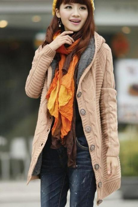 Light Brown Knitted Cardigan Super Thick Warm With Super Smooth Faux Fur Lining Wool Sweaters Pullovers