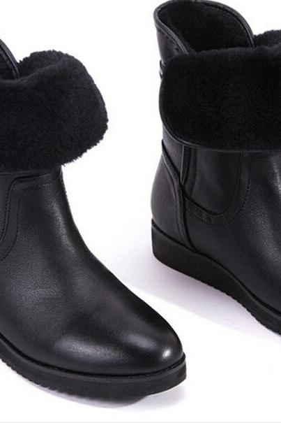The 2015 winter boots in Europe and America in tube short boots with flat bottomed boots female