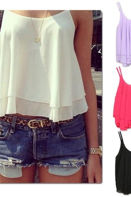 *Free Shipping* Spring Summer Casual Shirts Sleeveless Spaghetti Strap Sexy Chiffon Women Blouses Vest Tops 6269