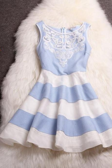 Embroidered Organza Striped Skirt Fashion Dress Mz4
