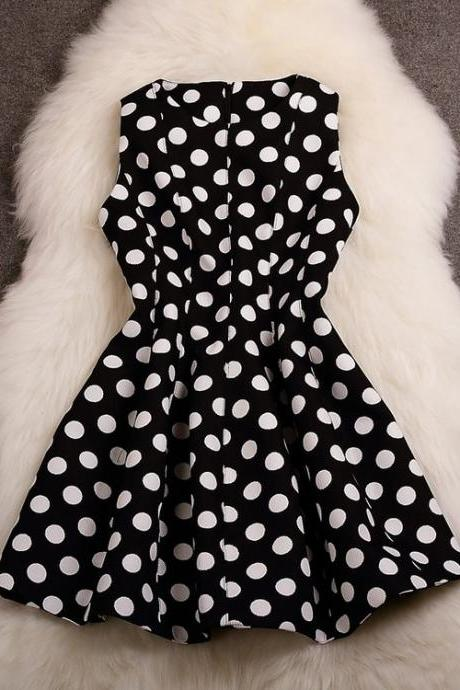 Sleeveless Polka Dot A-Line Dress