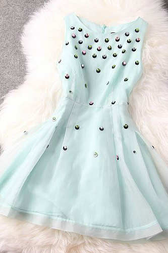 Slim Sequined Beaded Organza Dress