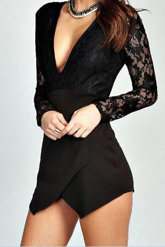 Sexy V-neck long-sleeved lace jumpsuit #DF100113DG
