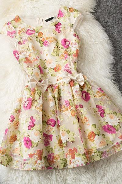 Floral Printed Organza Dress with Double Ribbon