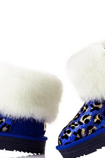 The new rabbit shoes in tube sequins warm winter snow boots