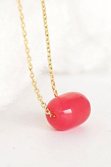 Cherry Pink Bead Necklace, Barrel Glass Bead on Gold-toned Chain