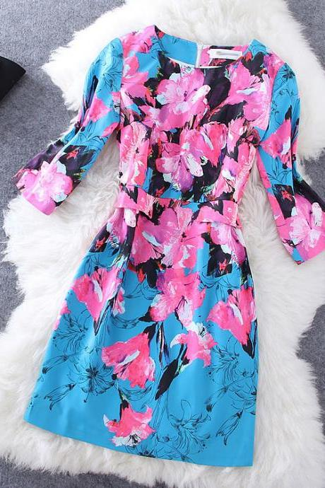 Rose Flower Print Dress