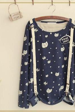Japanese Kawaii Cats Printed Round Neck Long Sleeve Cotton Straps T-Shir