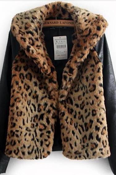 2014 New Women Faux Fur Winter Jacket Coat Leopard Fur Coat For Women Fashion Stitching Women Outerwear For Winter