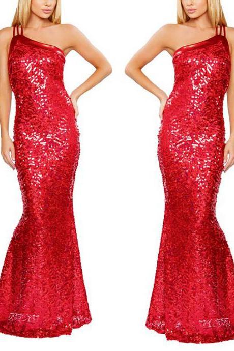 New Sexy Women Sleeveless Prom Ball Cocktail Party Dress Formal Evening Gown Red