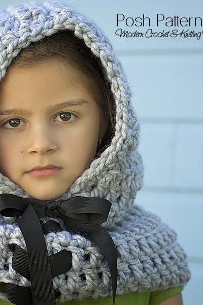 Hooded Cowl Crochet Pattern - Crochet Cowl Pattern - Includes Baby, Toddler, Child, Adult Sizes - PDF 389