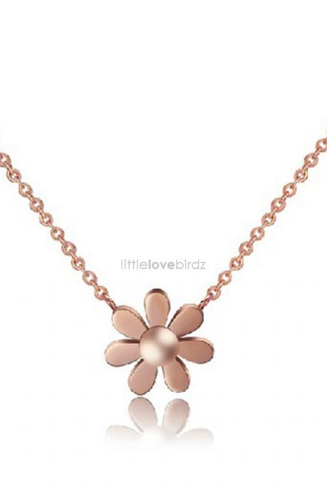 18K Rose Gold Daisy Flower Necklace with Chain