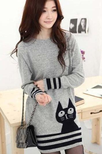 Cute Cat Print Long Sleeve Grey Pullovers Sweater