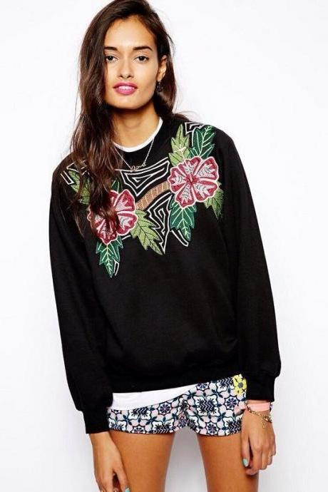 *Free Shipping* Europe and America fall casual long warm sweater with neck women embroidered flowers women oversized pullover sweater