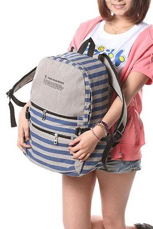 British Style Retro Strip Print Canvas Backpack