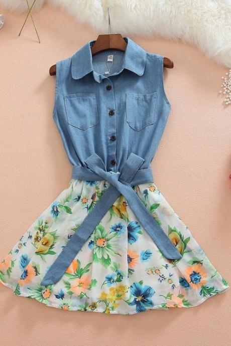 Denim Stitching Chiffon Sleeveless Dress