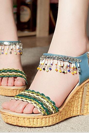 Fashion Handmade Beaded High-Heeled Shoes