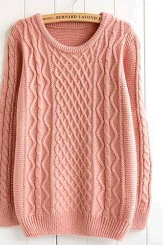 Fashion Round Neck Rhombus Grid Knitting Sweater