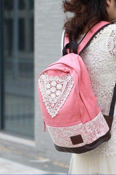 Hot sale Pink Canvas Lace Backpack for women