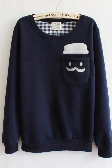 Kawaii Mustache Printed Sweatshirt - Navy
