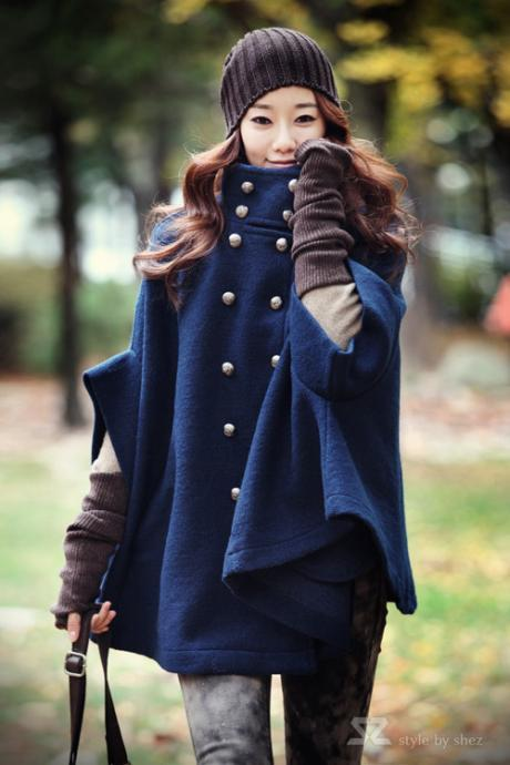 Navy Woolen Cape Coat